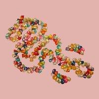 Fabulous TROCHUS SHELL Vintage Colored Iridescent Lei Necklace Set