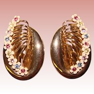 Awesome COLOR RHINESTONE Huge Vintage Flowered Clip Earrings