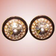 Fabulous RIVOLI RHINESTONE & Black Enamel Vintage Clip Earrings