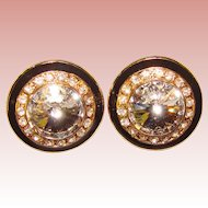 Fabulous RIVOLI RHINESTONE & Black Enamel Vintage Clip Earrings