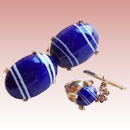 Signed DANTE Blue Art Glass Vintage Cufflinks Set
