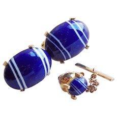Signed DANTE Blue Art Glass Vintage Cufflinks Set