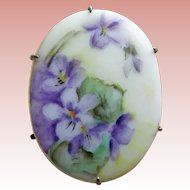 Antique Victorian Handpainted Porcelain Violets Brooch