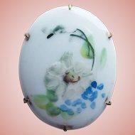 Antique Victorian Handpainted Porcelain Flower Brooch