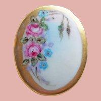 1940s Handpainted Porcelain Pink Roses Vintage Brooch