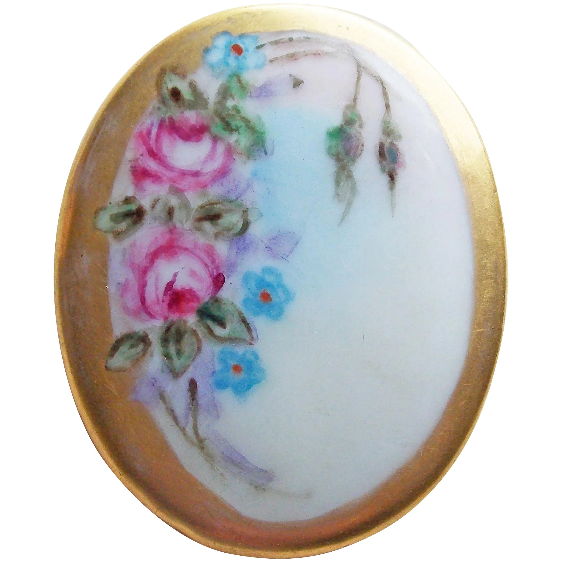 bisque porcelain brooch 3.2 cm \u00d8 total 8 Grams from Germany in very good vintage condition Vintage 1950s Handpainted pastel colors roses