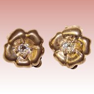 Fabulous STERLING & Clear Stones Vintage Clip Earrings