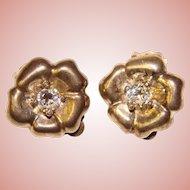Fabulous STERLING & Clear Stones Vintage Clip Earrings