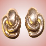 Awesome MEXICAN STERLING Modernist Design Vintage Earrings