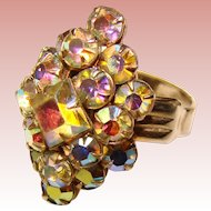 Gorgeous Vintage AURORA RHINESTONE Estate Ring