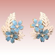 Gorgeous TRIFARI Signed White & Blue Enamel Rhinestone Vintage Earrings