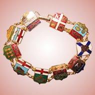 Awesome CANADA Enameled Panels Vintage Bracelet