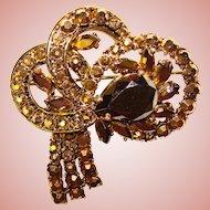 Fabulous BRONZE GOLD Finish Rhinestones Vintage Estate Brooch