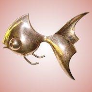 Fabulous STERLING Modernist Design Signed GKco Vintage FISH Brooch
