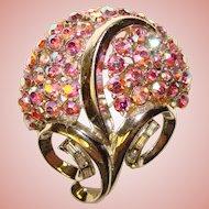 Gorgeous CORO Signed Pink Aurora Rhinestone Vintage Brooch