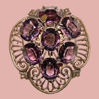 Gorgeous ART DECO Purple Glass Stones Dress Clip Brooch