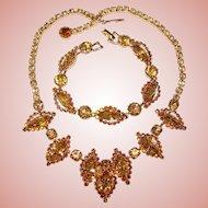 Fabulous WEISS Signed Champagne Halo Rhinestone Necklace & Bracelet Set