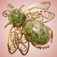 Gorgeous INSECT 12K Gold Filled Green Marble Stones Brooch