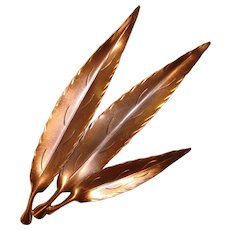 Fabulous NYE Signed COPPER Elongated WILLOW Leaf Shaped Brooch