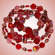 Fabulous RED & PINK Aurora & Rhinestone Crystal Beads Necklace