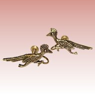 Gorgeous STERLING ROAD RUNNER Bird Vintage Earrings