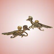 Gorgeous STERLING ROAD RUNNER Bird Vintage Earrings