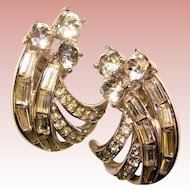 Gorgeous TRIFARI Signed Rhinestone Vintage Earrings