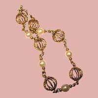 Gorgeous GOLD FILLED Cultured Pearl Vintage Bracelet
