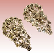 Fabulous ART DECO Large Pair of Rhinestone Dress Clip Brooches