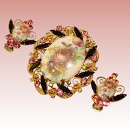 Fabulous JULIANA Flower Cameo Rhinestone Brooch Set