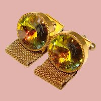 Awesome WATERMELON RHINESTONE Rivoli Mesh Wrap Vintage Estate Cufflinks