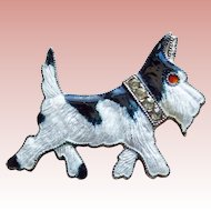Art Deco Scotty Terrier Dog Enamel Brooch - Rhinestone Collar Adorable!