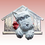 Art Deco Scotty Terrier Dog in Doghouse Brooch - Enamel Painted Super Cute!