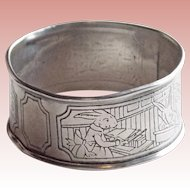 Antique Webster Sterling Dressed Rabbits in School Napkin Ring