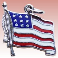 Wells Sterling & Enamel American Flag Vintage Charm - United States of America USA