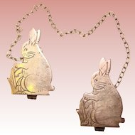 Wonderful Webster Sterling RABBITS Bib Holder