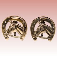 Fabulous STERLING HORSE & Horseshoe Vintage Estate Earrings