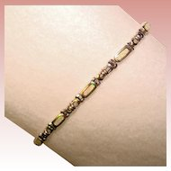 Gorgeous STERLING & OPAL Inlay Estate Bracelet