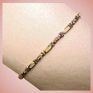 Gorgeous STERLING & OPAL Inlay Estate Bracelet