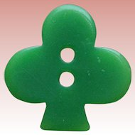 Early Plastic Green Clover Shamrock Vintage Button