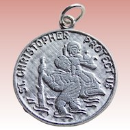 Sterling ST. CHRISTOPHER Vintage Charm Medal - Signed Wells