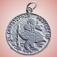 Sterling ST. CHRISTOPHER Vintage Charm Medal - Signed Wells