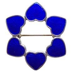 Sterling & Blue Enamel Signed Denmark Vintage Heart Brooch - Red Tag Sale Item