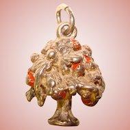 Awesome STERLING Dimensional Enamel TREE Vintage Charm