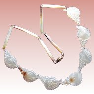 Gorgeous Shell Link Carved Mother of Pearl Vintage Necklace