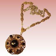 Fabulous West Germany Hematite Glass & Rhinestone Vintage Necklace