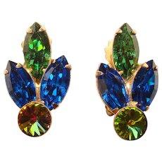 Fabulous BLUE & GREEN Rivoli Rhinestone Vintage Clip Earrings