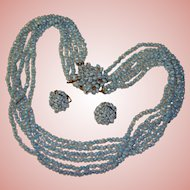 Fabulous Signed ITALY Opalescent Glass Multi Strand Necklace & Clip Earrings Set