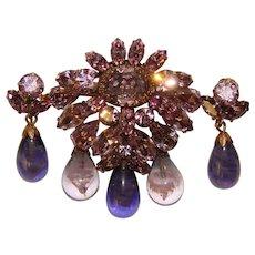 Fabulous REGENCY Signed Purple Rhinestone & Glass Dangles Brooch Set