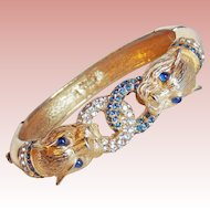 Fabulous CINER Signed Panther Blue & Clear Rhinestone Bracelet - Vintage Hinged Bangle Big Cat